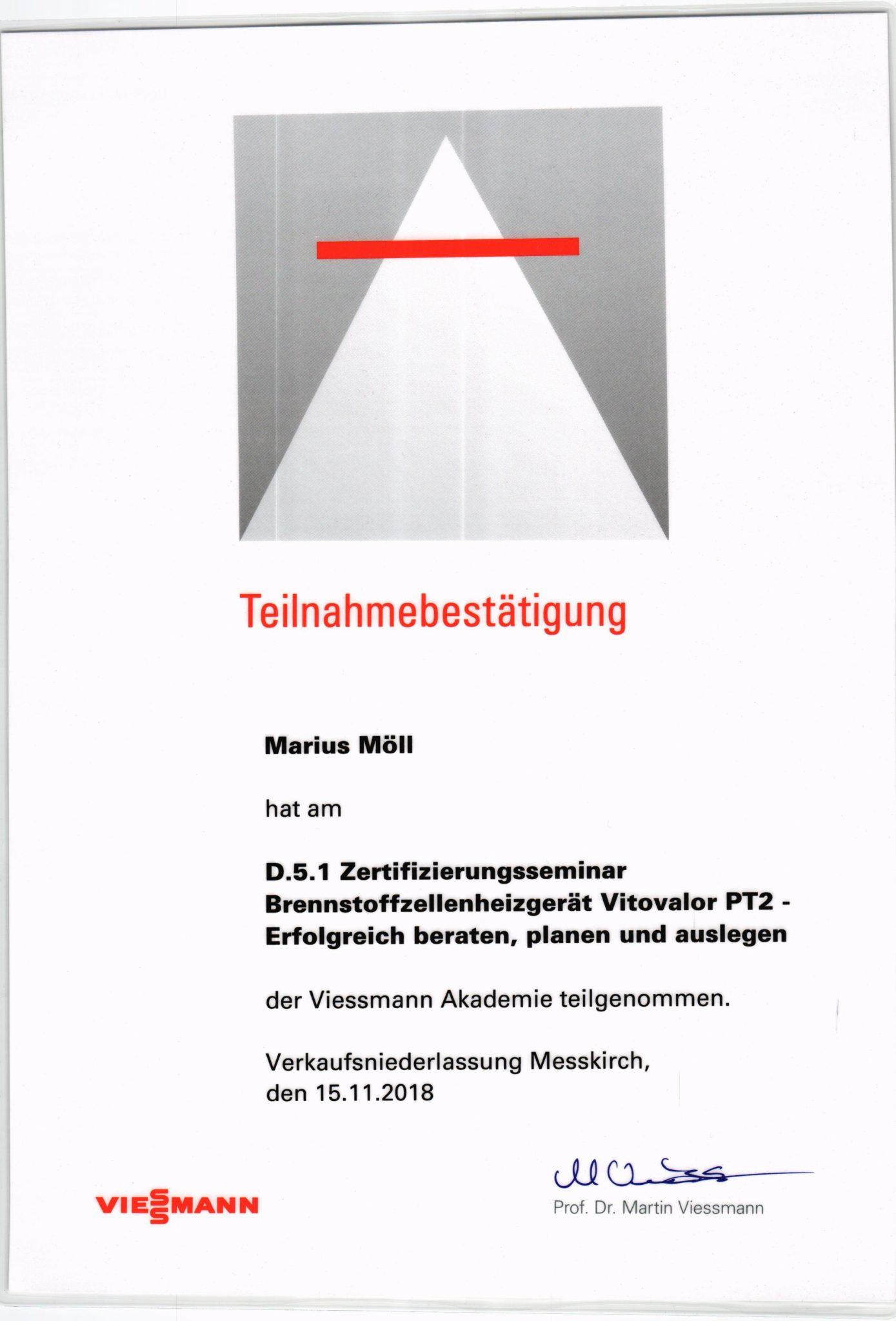 Zeftifizierungsseminar Brennstoffzellenheizgerät Vitovalor PT2