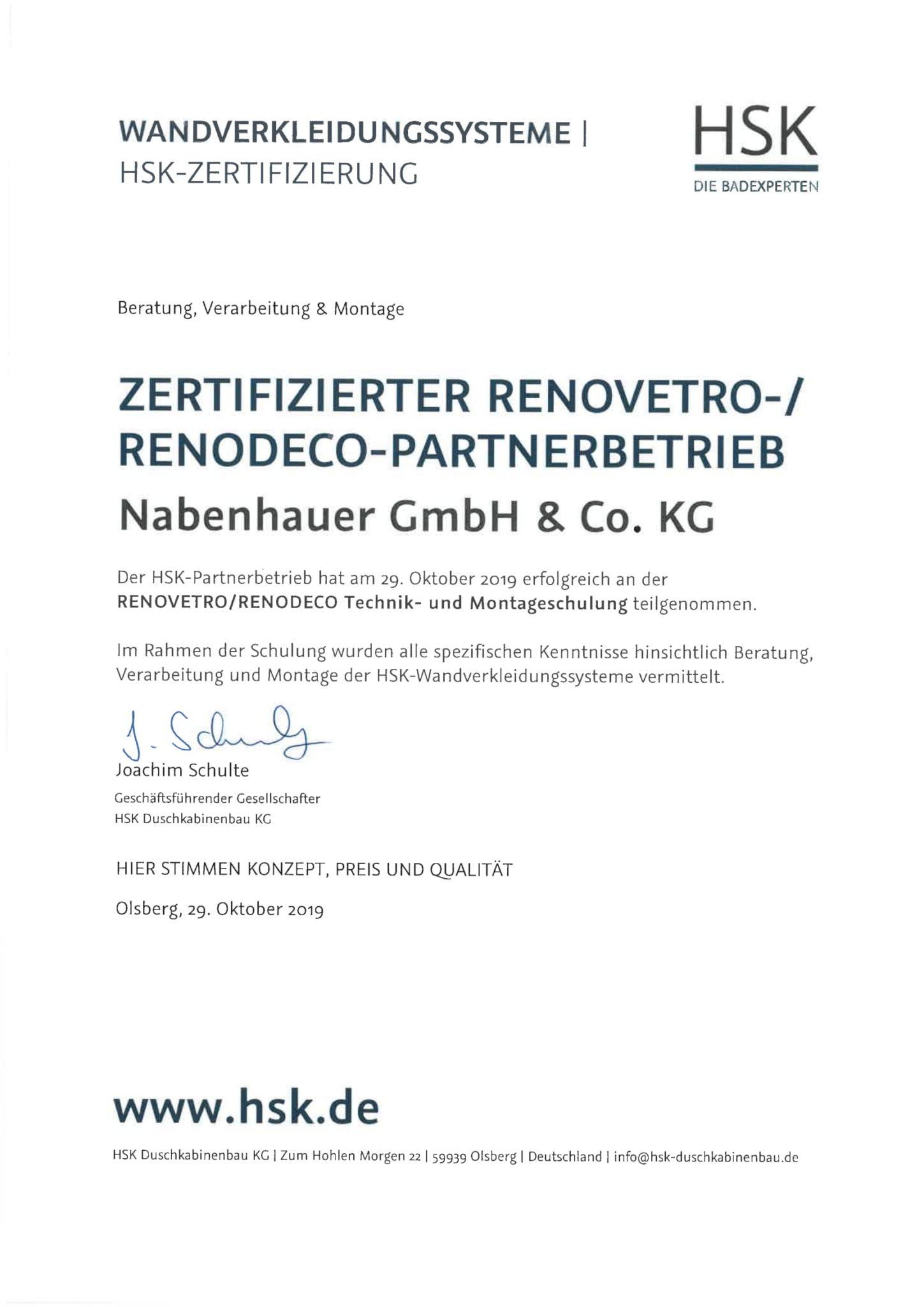 Zertifizierter Renovetro Renodeco Partnerbetrieb