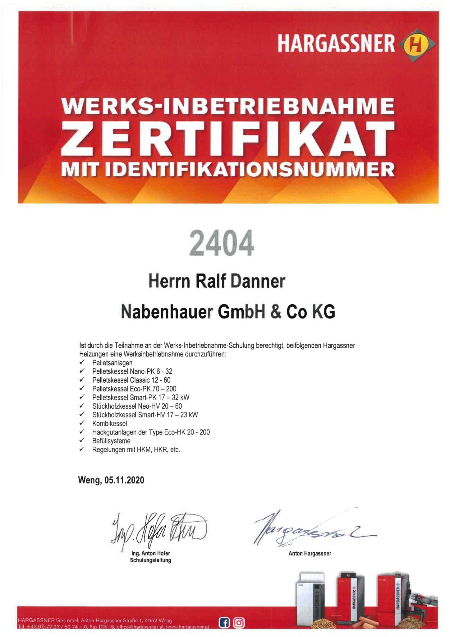 Werks-Inbetriebnahme Zertifikat