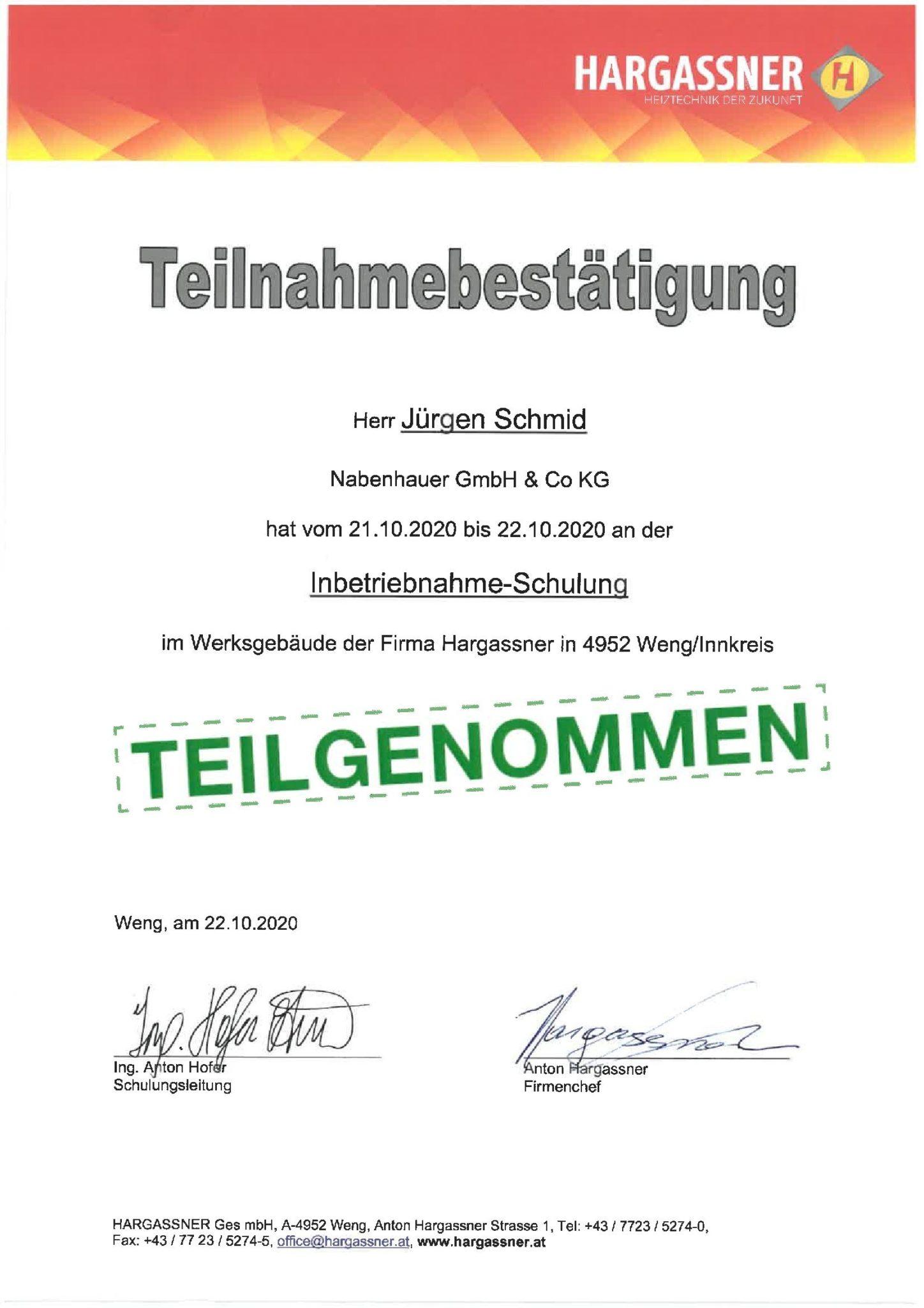 Schmid Jürgen Hargassner Inbetriebnahme Schulung