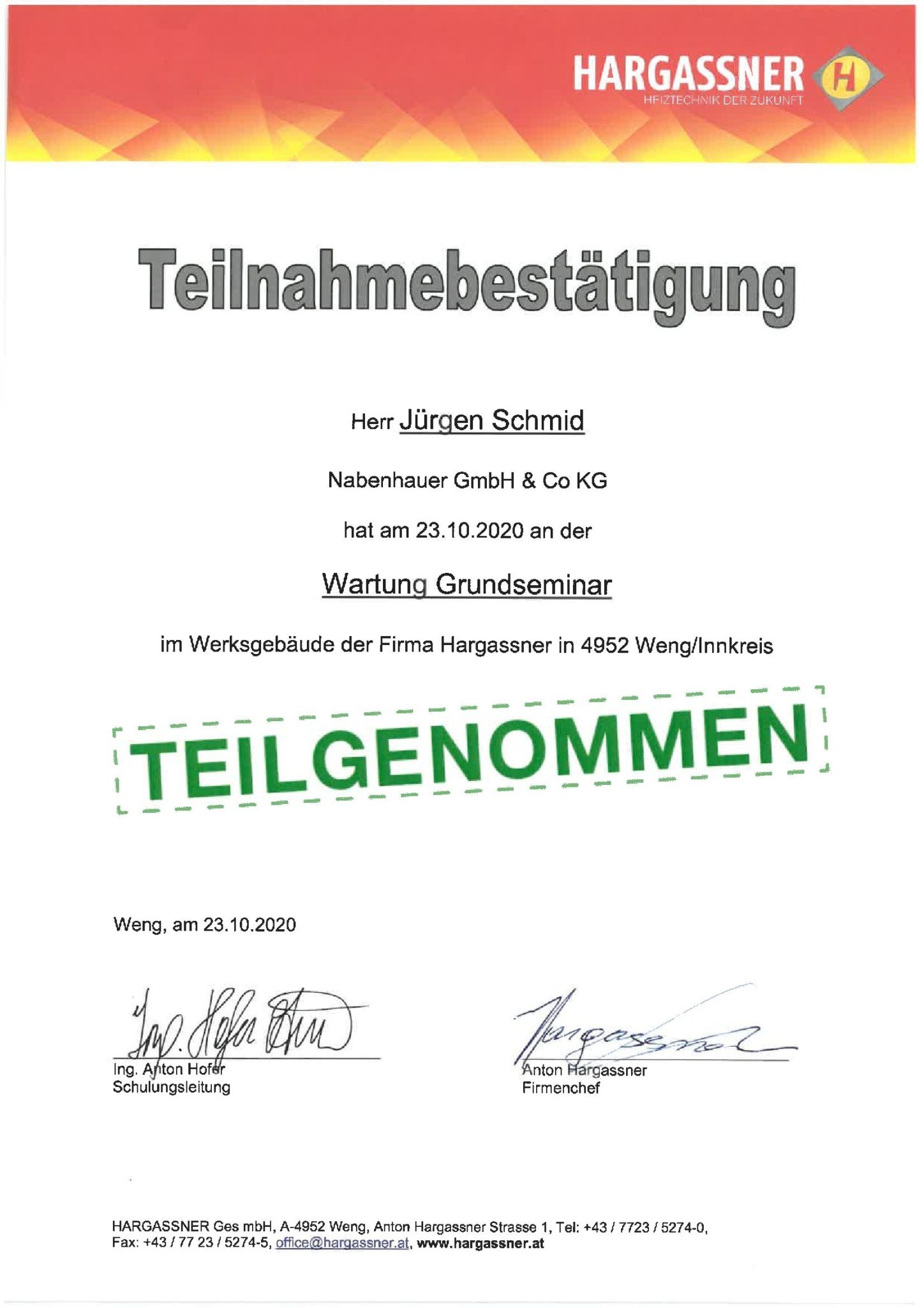 Schmid Jürgen Hargassner Wartung
