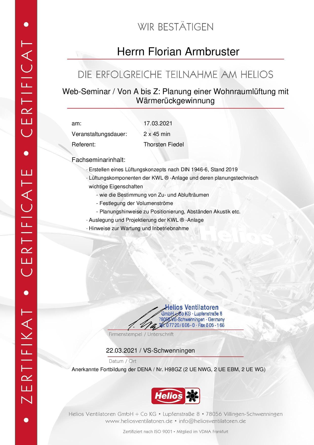 Zertifikat - Planung KWL - Florian Armbruster